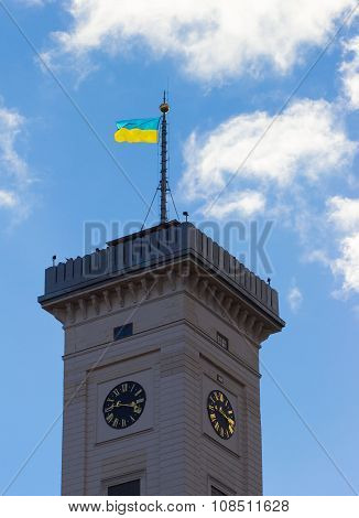 Lviv City Hall built in 1830-1845 tower 65 m height situated at Market or Rynok Square. Rynok Square