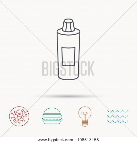 Shampoo bottle icon. Liquid soap sign. Global connect network, ocean wave and burger icons. Lightbulb lamp symbol. poster