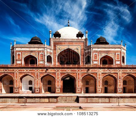 Humayun's Tomb. Delhi, India. UNESCO World Heritage Site. Frontal View poster