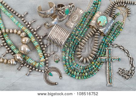 Silver and Turquoise Native American Jewelry.