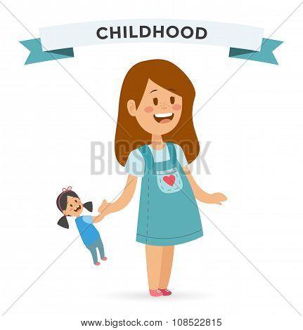 Cute little girl with doll in cute dress