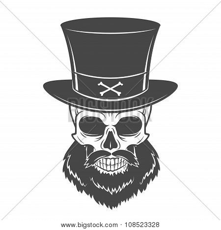 Outlaw skull with beard and high hat portrait vector. Crossbones logo template. Bearded rover t-shir