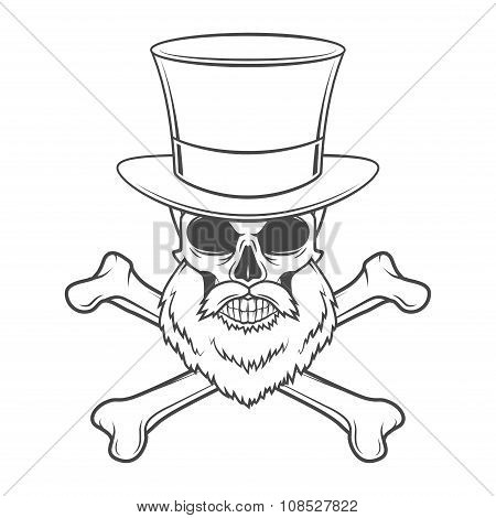 Outlaw skull with beard, high hat and cross bones portrait vector. Crossbones logo template. Bearded