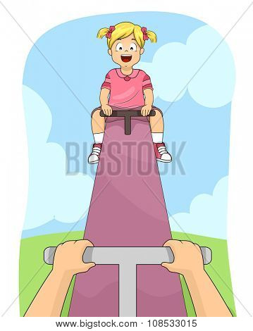Illustration of a Little Girl Happily Playing on the See Saw