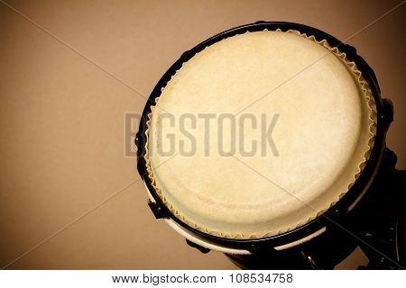 Selective focus bongo drum and blur background.