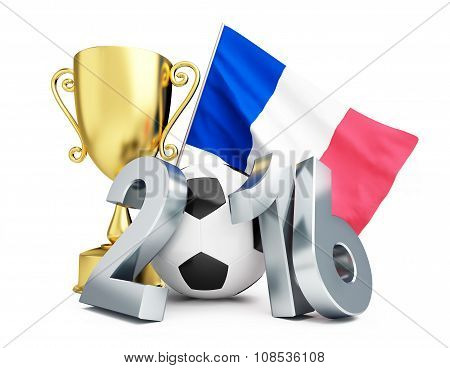 France Football 2016, Gold Cup And Flag Of France