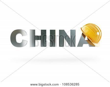Chine Safety Helmet, Construction Helmet On A White Background
