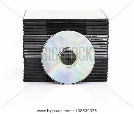 DVD boxes with disc on white background poster
