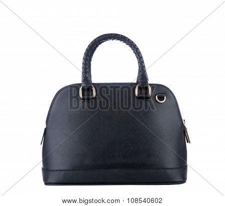 Luxury Black Leather Holding Female Fashion Hand Bag Isolated Background