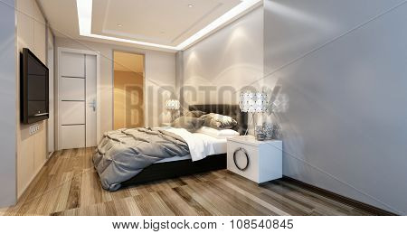 Modern bedroom interior with overhead lighting and a stylish bed facing a wall mounted television in a luxury home. 3d Rendering.