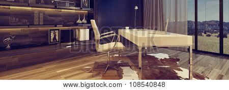 Panoramic view of a stylish home office with chair and desk overlooking a countryside view through large windows and upmarket cabinetry. 3d Rendering.