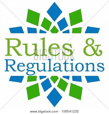 Rules and regulations text over abstract green blue background. poster