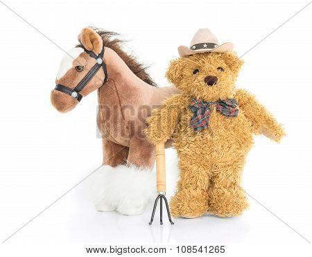 Teddy Bear Farmer With Pitchfork  And Horse