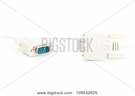 Vga Input Cable  Connector On White Background