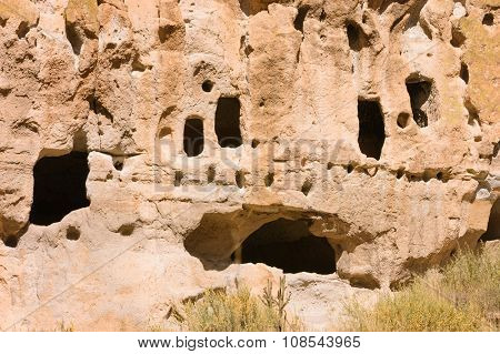 Native American cliff dwellings at Bandelier in New Mexico poster