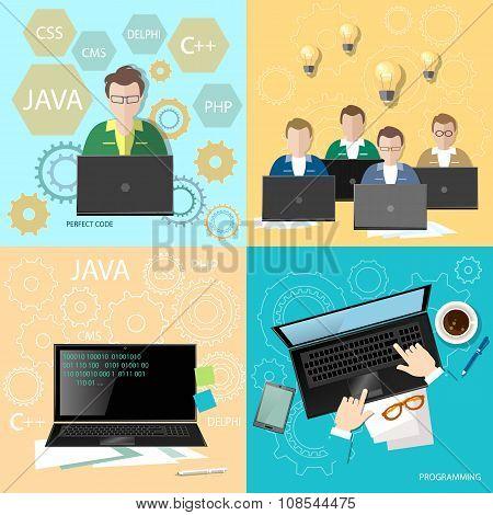 Education Programmers Group Students Learning Code Development Team Programming Binary Code flat set