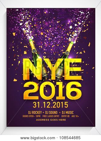 Elegant Flyer, Banner or Pamphlet with champagne bottles for Happy New Year's Eve Party celebration. poster