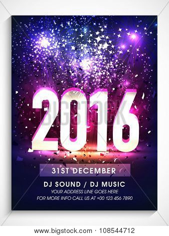 Elegant Flyer, Banner or Pamphlet for Happy New Year's 2016 Eve Party celebration. poster