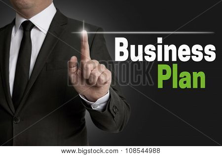 Businessplan Touchscreen Is Operated By Businessman Concept
