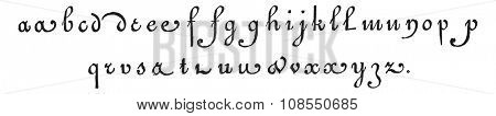 Lowercase, vintage engraved illustration. Industrial encyclopedia E.-O. Lami - 1875.