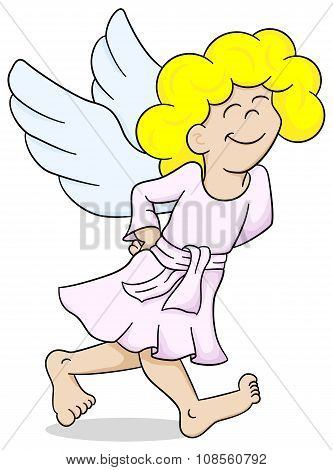 vector illustration of a cartoon angel is walking satisfied poster