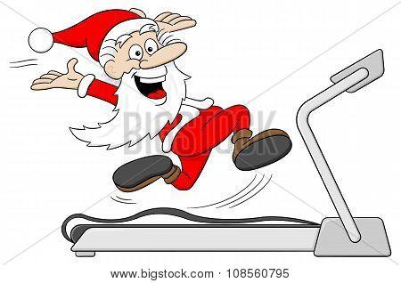 Santa Claus Is Jogging On A Treadmill