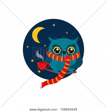 Owl with a Mug of Coffee on Branch. Vector Illustration