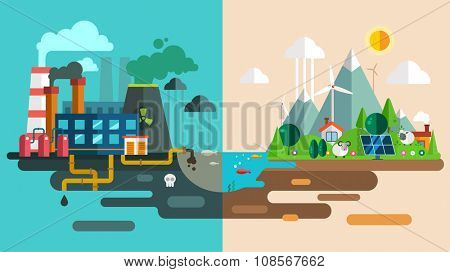 Green eco city die ecology concept. New energy type. Modern energy safety. Power energy station factory toxic waste. New eco technology vector illustration. Ecology concept, city for future people