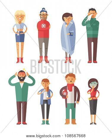 People ill vector illustration. Seasonal virus attack. People illnes, people sick. People cold vector illustration. People unwell and need medical help. Virus, health, fever people silhouette. People