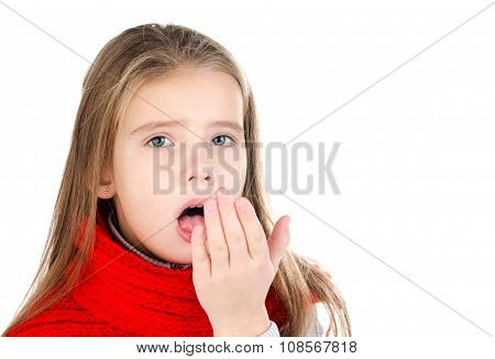 Sick Little Girl In Red Scarf Coughing Isolated