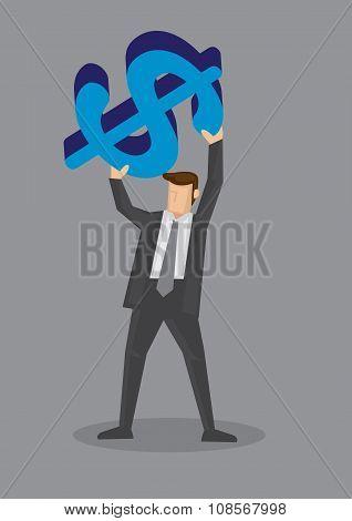 Cartoon Businessman Holding Big Dollar Sign Vector Illustration