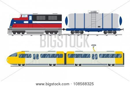Passenger and transportation trains vector collection. Trains vector illustration on white background. Trains silhouette isolated on white. Passenger and cargo trains vector on railway. Travle by