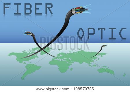 Fiber Optic Cables and World Map