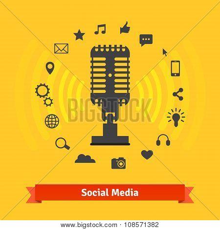 Social media marketing, podcasts recording studio