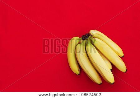 Bunch of bananas on red background, Fresh organic Banana, Fresh bananas on kitchen table