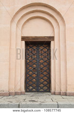 Ancient Door In The Christian Church. Architecture