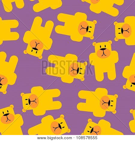 Yellow bear Marmalade seamless pattern. Yellow bear in purple jelly. Cute beast texture for baby tis