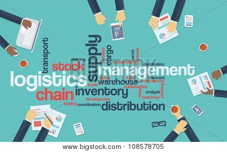 Logistics management business vector background with wordcloud and businessmen on a meeting.