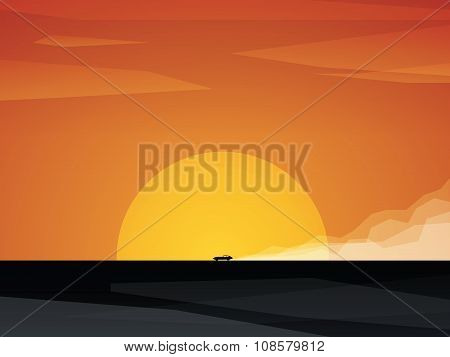 Fast car driving on dusty road with sunset in background. Bright orange sun and sky against black la