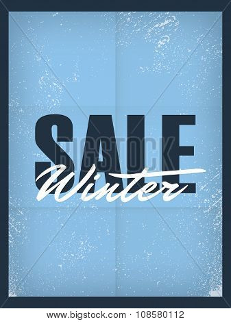 Winter sale poster template. Discounts and special offers promotional banner, flyer, leaflet for adv