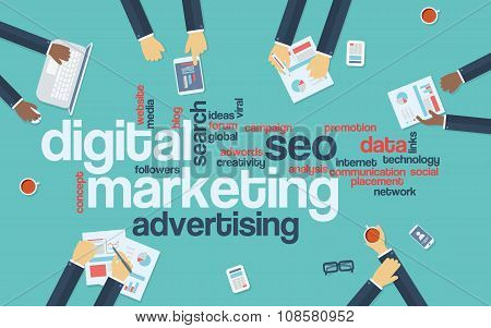Digital marketing concept infographics vector background. Word cloud with online advertising keyword