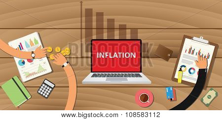 inflation concept with down graph