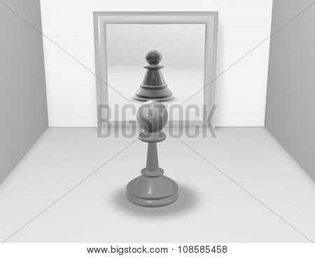 Anorexia Concept With Chess Pawn And Mirror Reflection.