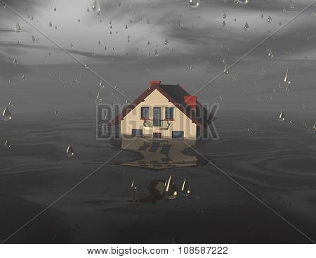 Flood concept illustration with house under water.