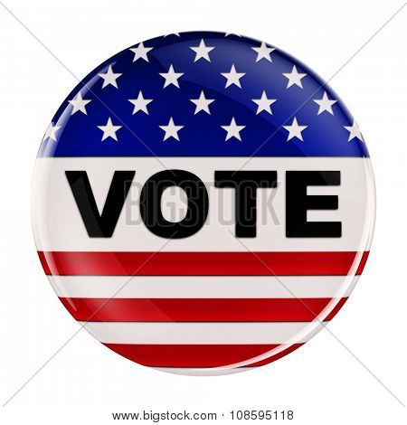Vote button inspired by the American flag with clipping path over white background
