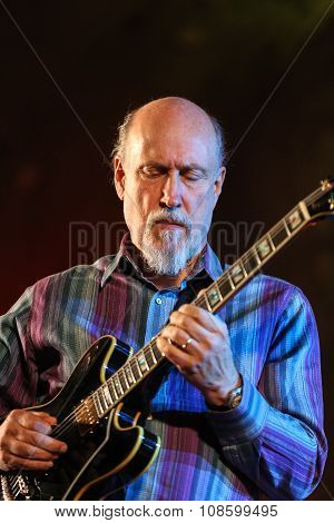 WIELICZKA POLAND - NOVEMBER 2 2015: John Scofield playing live music at The Cracow Jazz All Souls Day Festival in The Wieliczka Salt Mine. Poland