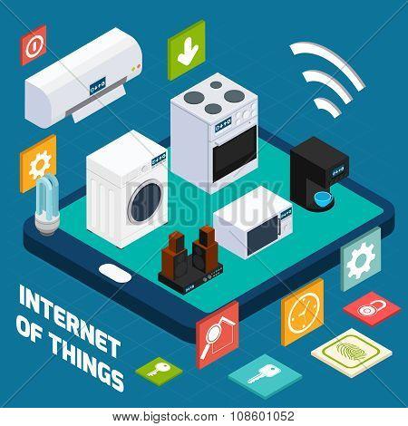 Iot concise household isometric concept icon