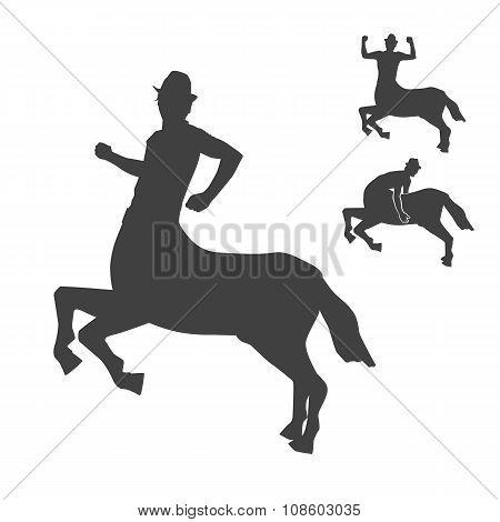 Black and white centaur silhouettes set.