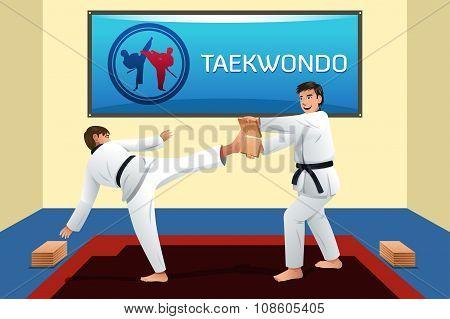 People Practicing Taekwondo