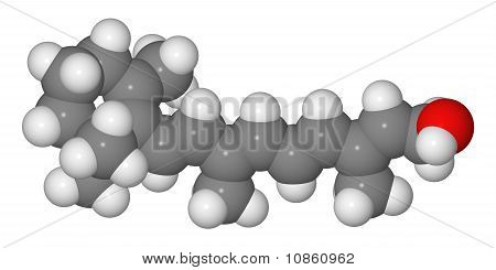 Space-filling Model Of Retinol Molecule